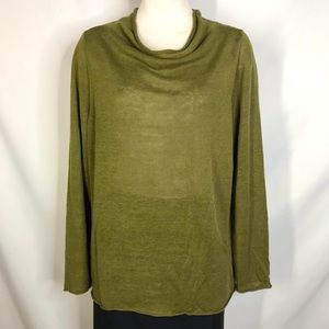 Eileen Fisher size XL olive green linen sweater